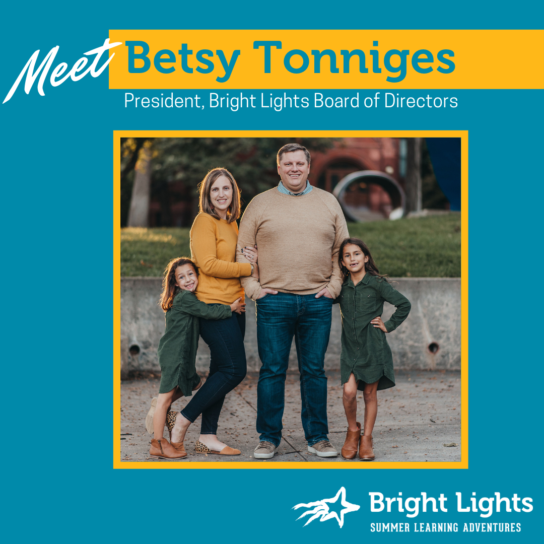 board president Betsy Tonniges is pictured with her family
