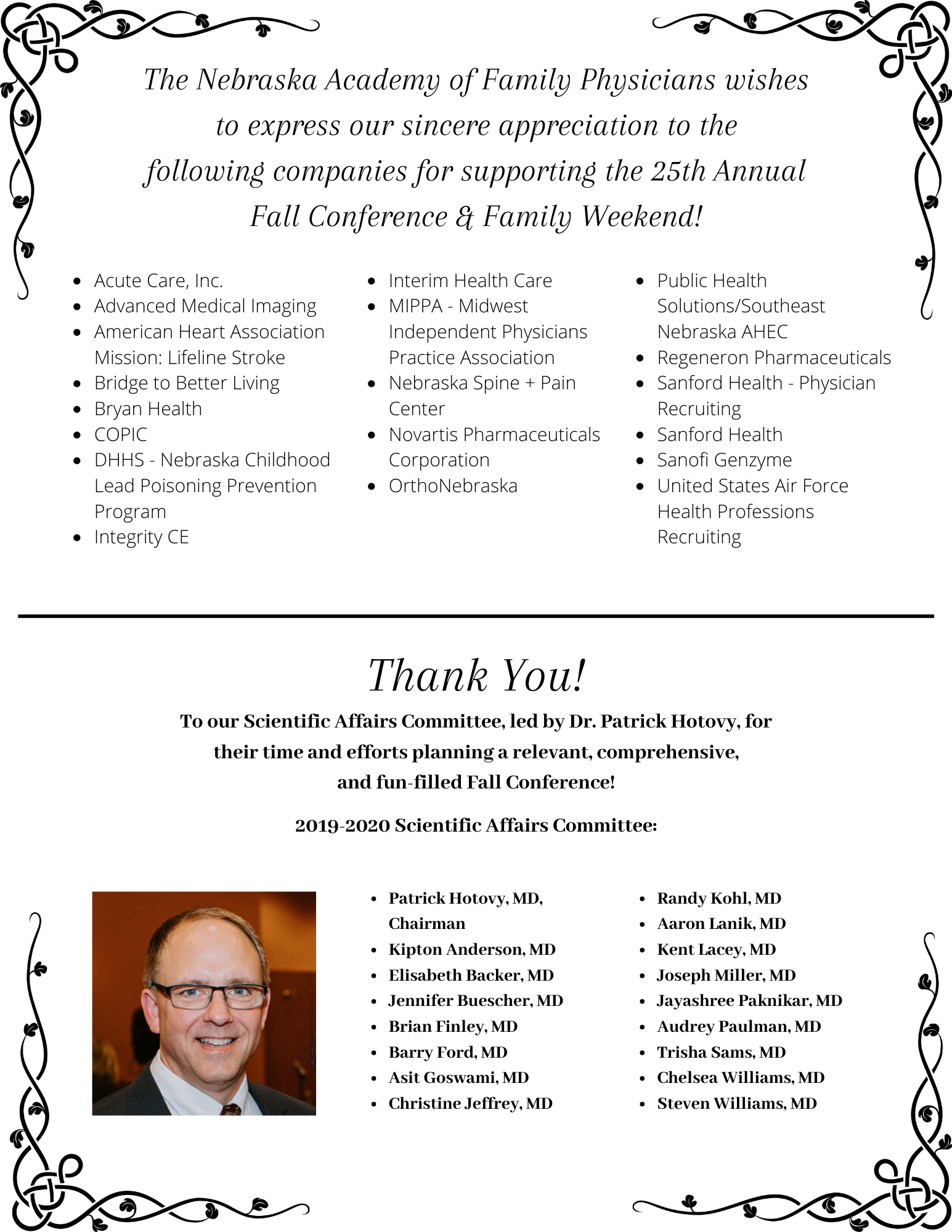 Thank You to Supporters of the Fall Conference