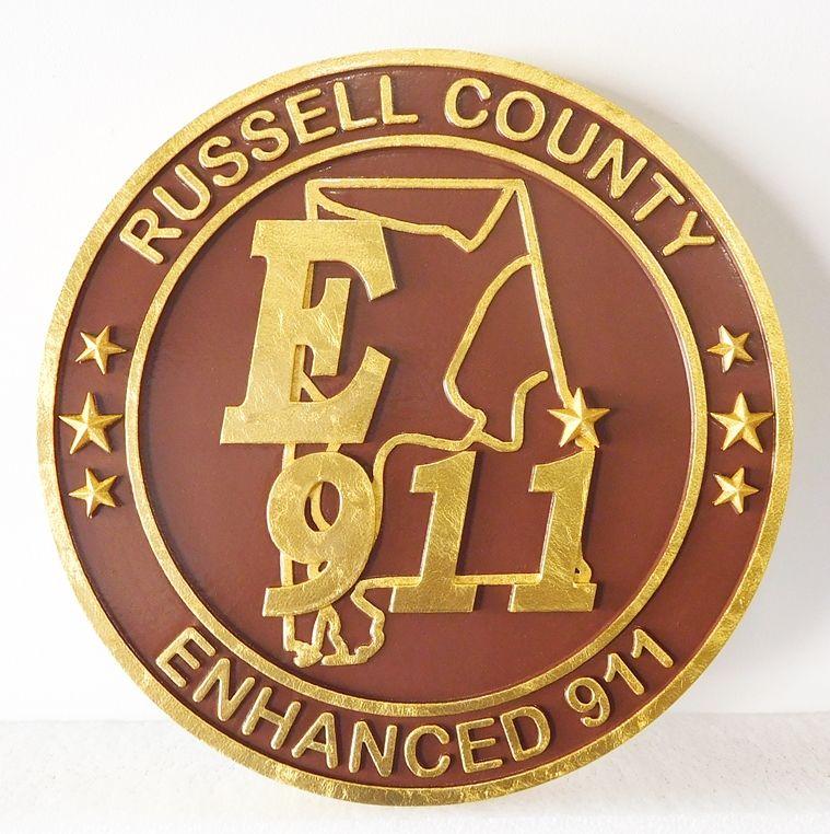 M7350- 24K Gold-leaf Gilded 2.5D Carved High-Density-Urethane Plaque for Russell County, Alabama.