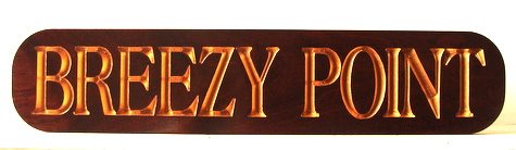 "L21892 -  Gold-Leaf Gilded Text Mahogany Property Quarterboard Sign for ""Breezy Point"" Residence"