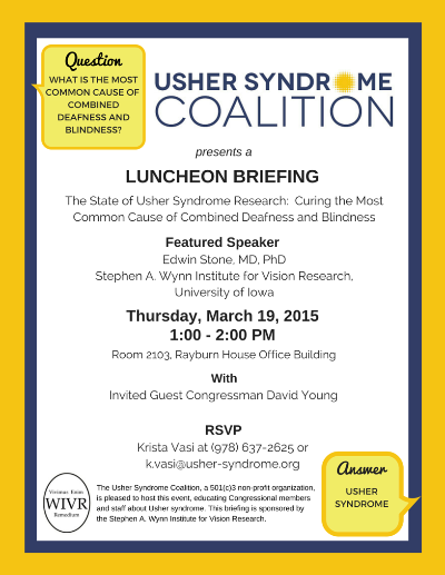 Usher Syndrome Congressional Briefing Flyer