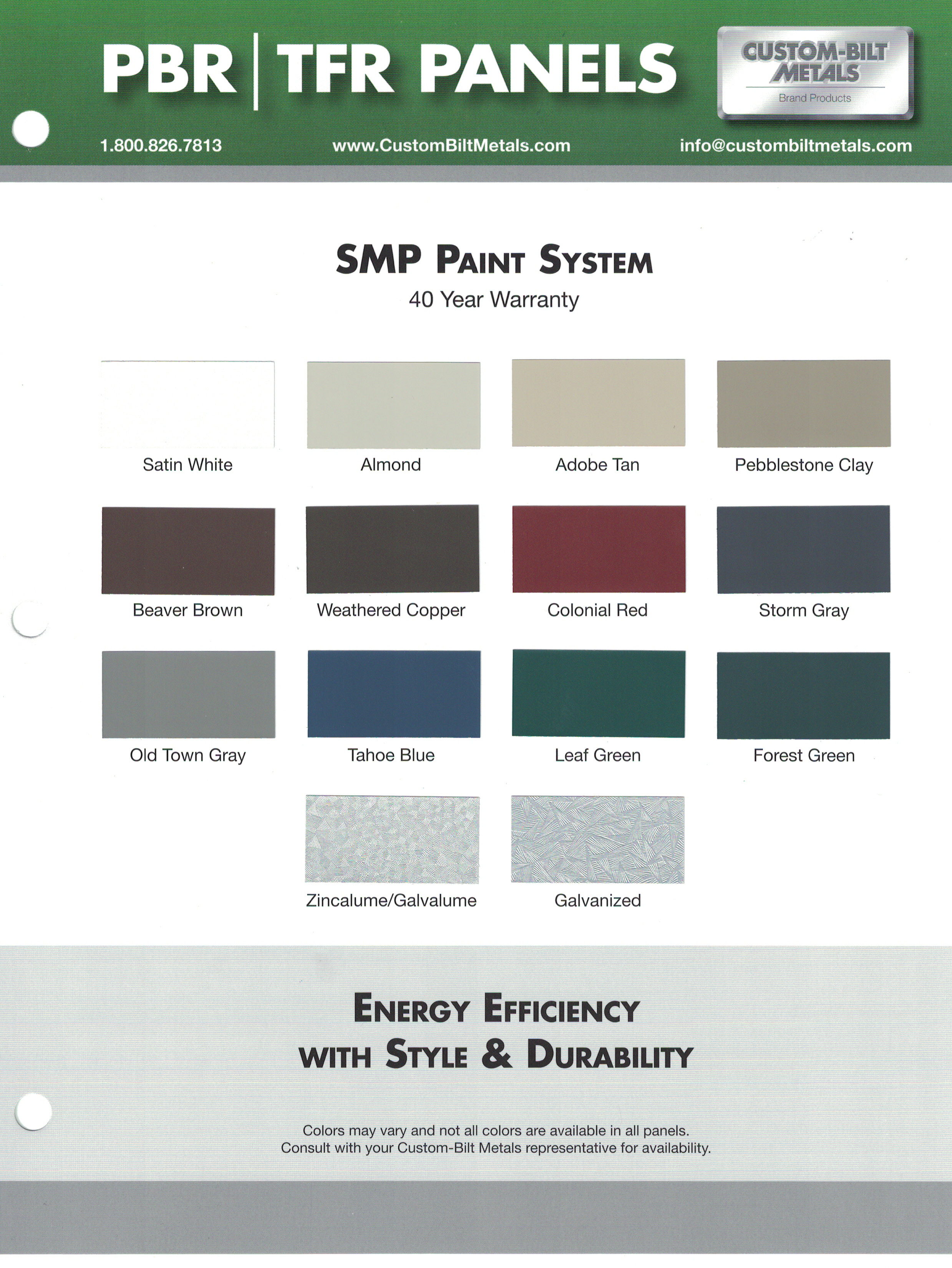 PBR   TFR Panel Color Card