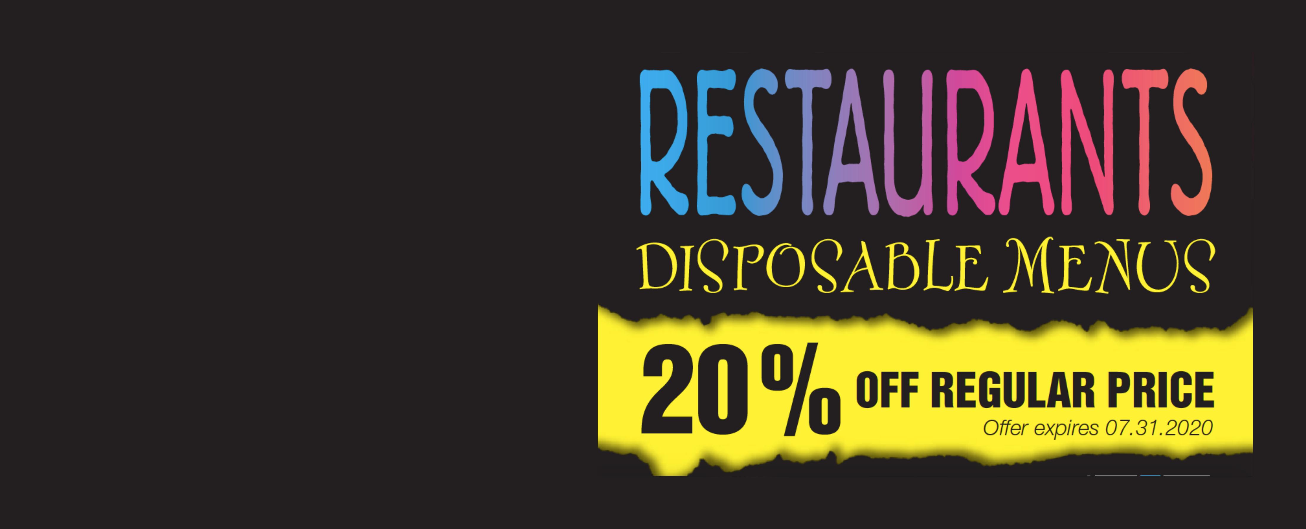 Disposable Menu Special