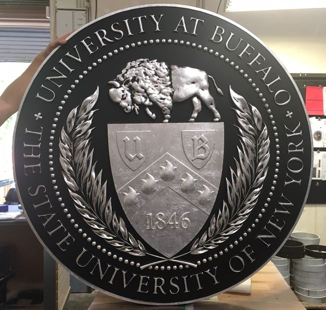 RP-1160 - Carved Wall Plaque of  the Seal of The State University of New York at Buffalo, Silver Leaf Gilded