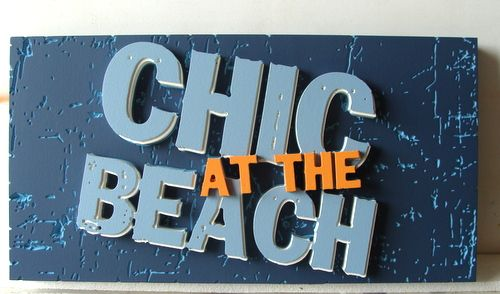 L21947- Coastal Clothes Retail Store Sign, with Multi-layer Cut-out Letters