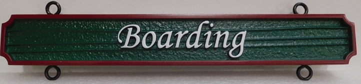 "P25365 - Carved and Sandblasted Hanging  ""Boarding"" Sign"