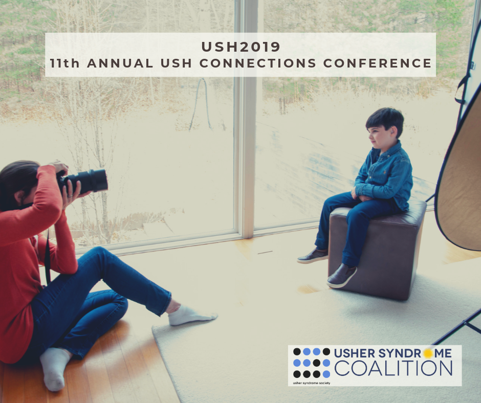 "Text at the top of the graphic reads ""USH2019 11th Annual USH Connections Conference"". A woman wearing blue jeans and a coral sweatshirt is sitting on the ground aiming her camera at a little boy. The boy is sitting on a brown leather stool. He is wearing"