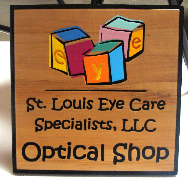 "B11159- Carved Wooden Sign for Optical Dispensary (""Optical Shop"")"