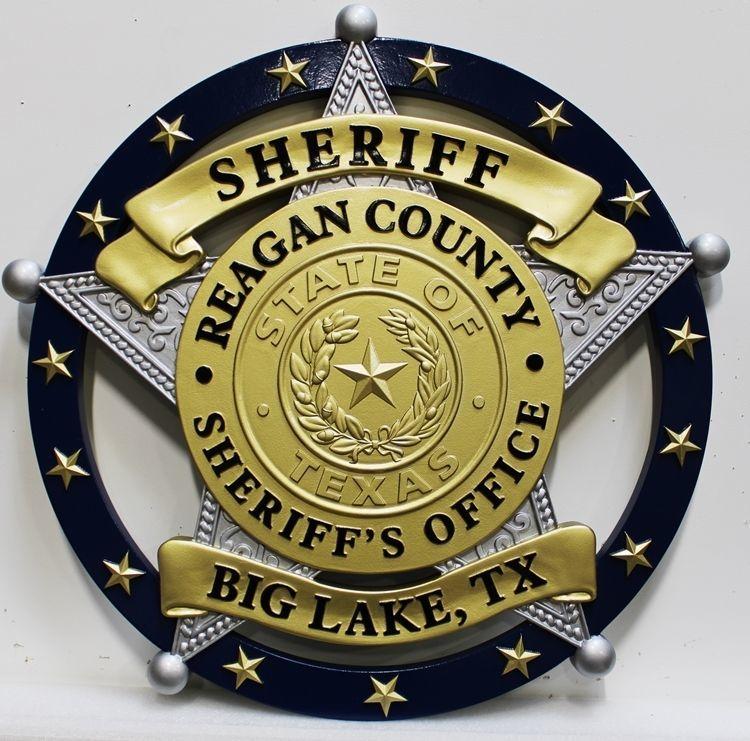 PP-1764 - Carved 3-D HDU Plaque of the Star Badge of the Sheriff of Reagan County, in Big Lake, Texas