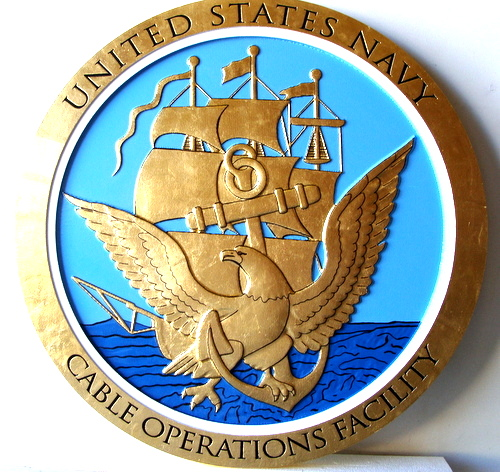 M7327 - Gold-Leafed Gilded Wall Plaque for US Navy Great Seal