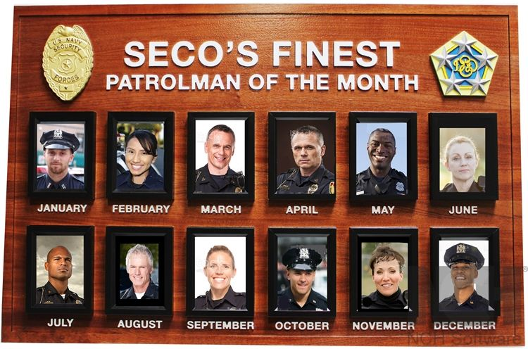 JP-2565 - Carved Mahogany Award  Board for SECO's Finest - Patrolman of the Month
