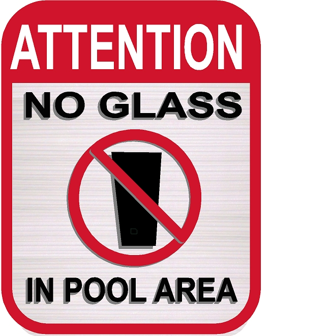 "GB16410- Carved HDU Swimming Pool Sign with Symbol  ""No Glass in Pool Area"""