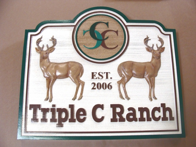M22602 - 3-D Carved and Sanblasted (Wood Grain)  HDU Triple C  Ranch Sign with Mule Deer