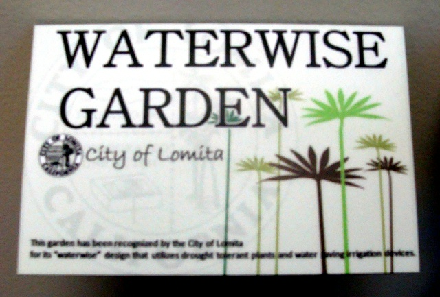 GA16528 - Carved HDU Sign for a Water Wise Garden for  Drought Tolerant Plants and Water Saving Irrigation Devices