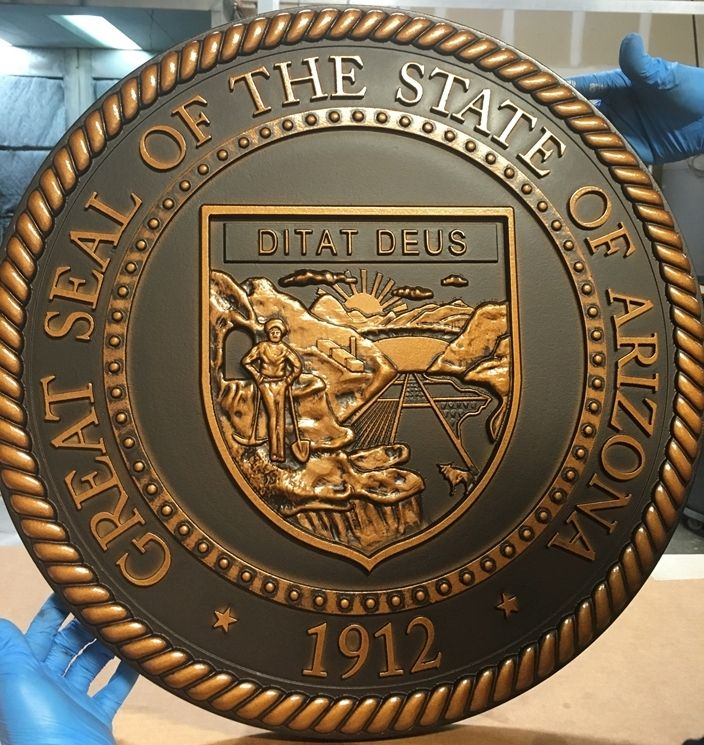 M7014 - Bronze-coated 3D Carved HDU Great Seal of the State of Arizona
