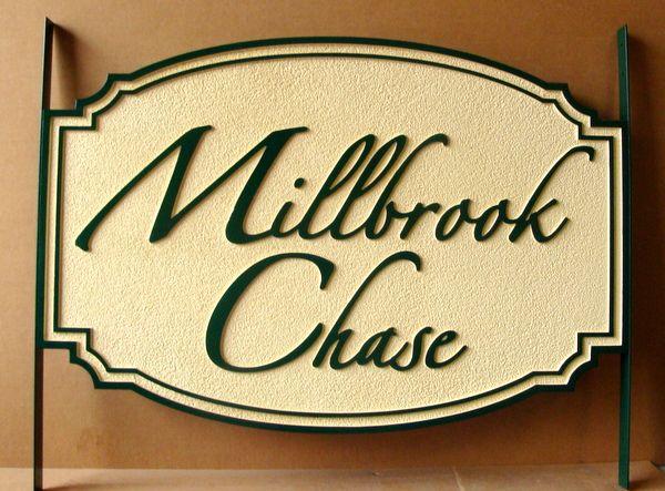 """I18112  - Carved and Sandblasted HDU Propert Name Sign, """"Millbrook Chase"""" in Script Font"""