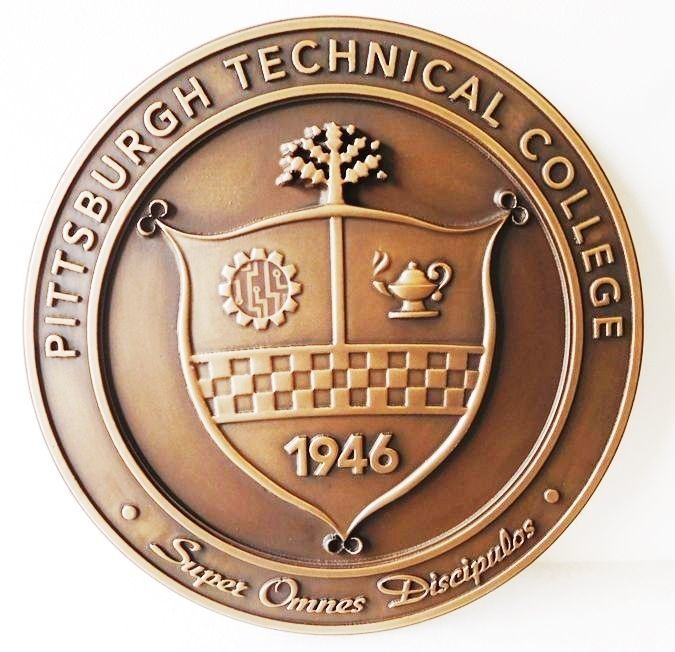 Y3430 - Carved 3-D Brass-Plated Plaque of the Seal of  the Pittsburg Technical College
