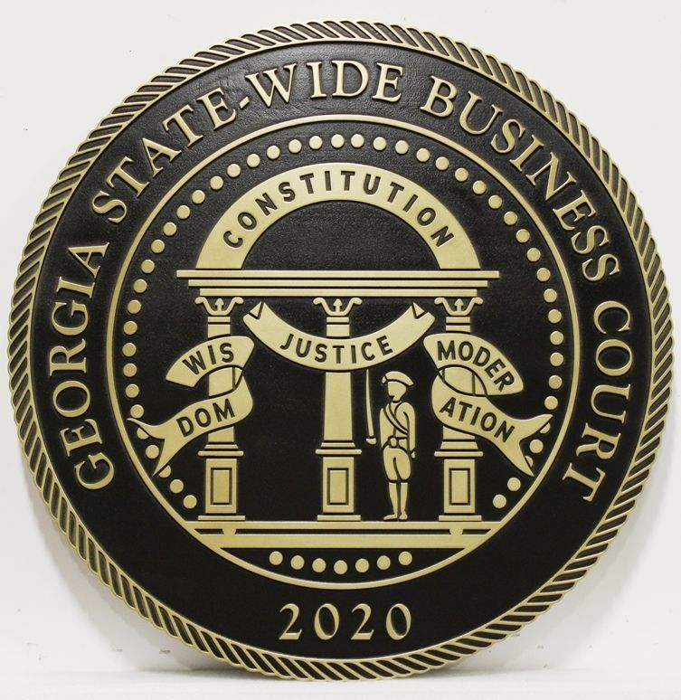GP-1092 - Carved 2.5-D Raised Relief Brass-Plated Seal of the Georgia Statewide Business Court