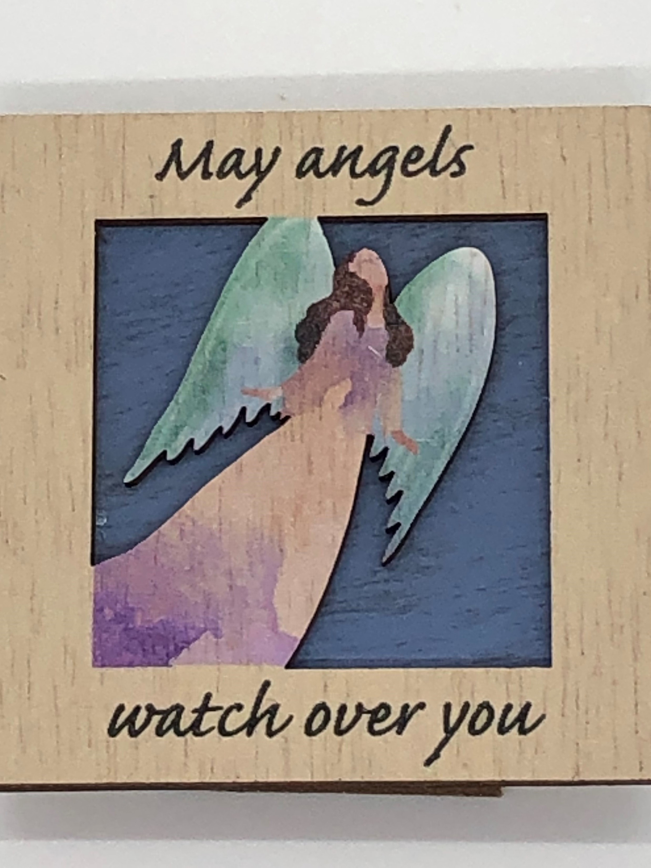 Wooden Print Plaque - May Angels Watch Over You