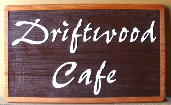 "Q25614- Carved Wood Sign Using Two Woods for ""Driftwood Cafe"""