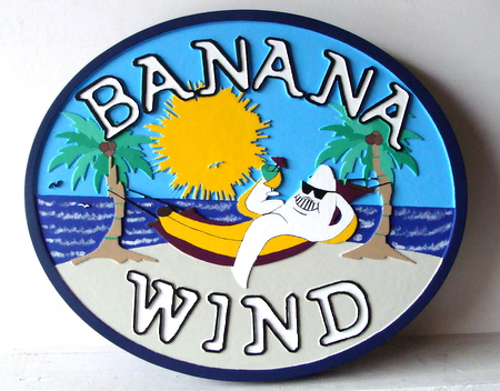 L21074 - Carved HDU Sign with Banana Hammock and Palm Trees