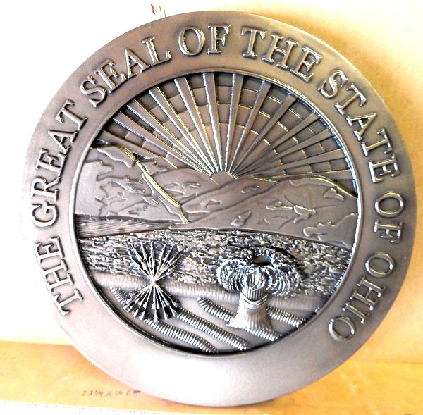 M7263 - Aluminum-platedCarved High-Density-Urethane (HDU) Wall Plaque of the Great Seal of the State of Ohio