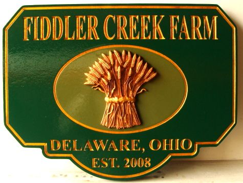 O24715 - Carved 3-D Ohio Farm Sign with Wheat