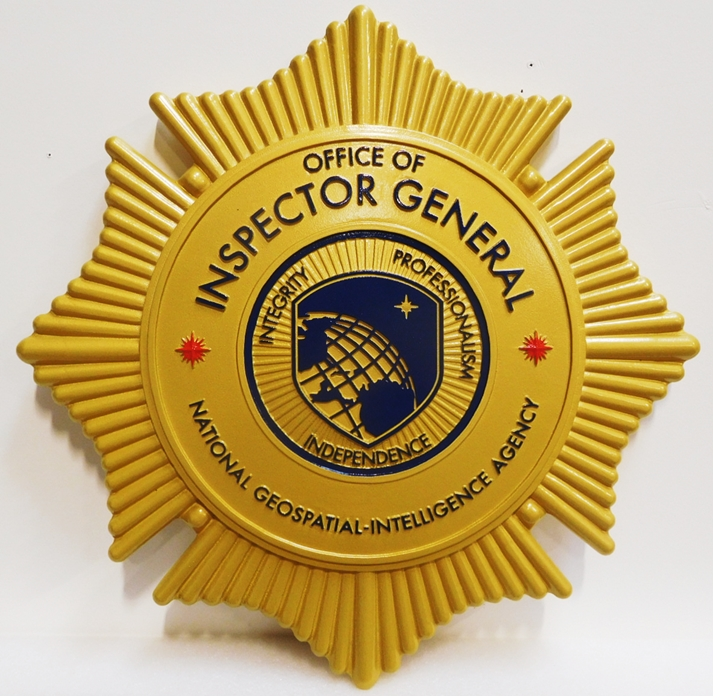 AP-3210 - Carved Plaque of the Badge of the Office of the Inspector General, National Geospatial Intelligence Agency
