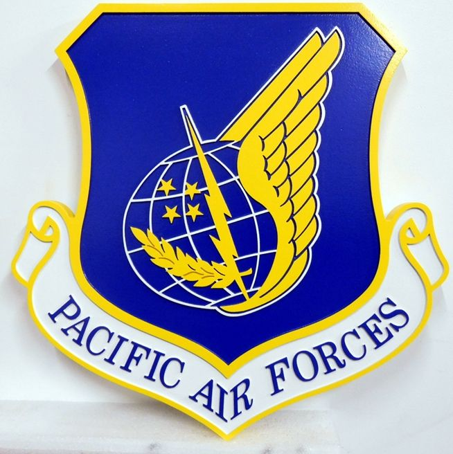 LP-1590 - Carved Shield Plaque of the Crest of the Pacific Air Force, 2.5-D Artist Painted