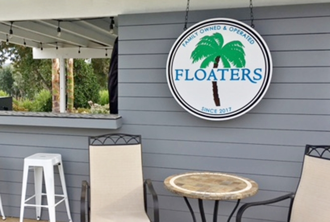 """L21140A- Engraved Sign for """"Floaters"""" Bar with  Palm Tree, Mounted on Wall"""