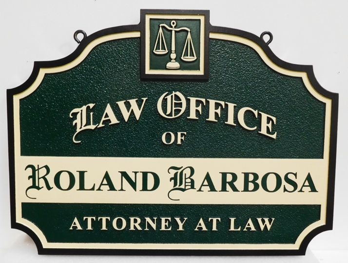 "A10425 - Carved and Sandblasted 2.5-D  Sign for the Law Office of ""Roland Barbosa"""