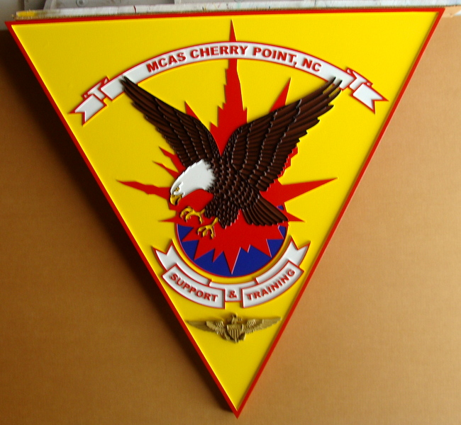 V31423A  – Carved 3D Wall Plaque of the  Crest of MCAS at Cherry Point, NC, with Eagle and Wing Badge