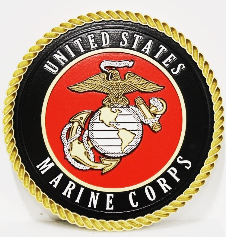 KP-1128 - Carved 2.5-D Outline Relief  Plaque of theEmblem of the US Marine Corps