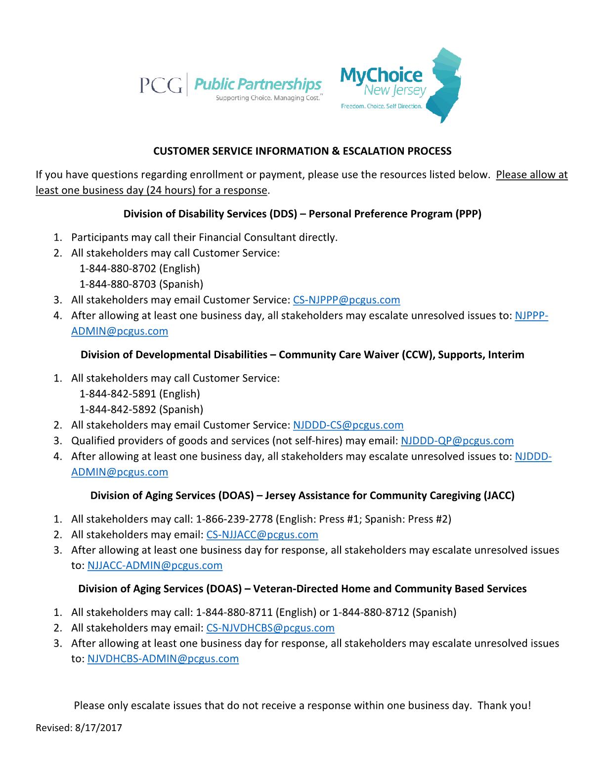 CUSTOMER SERVICE INFORMATION & ESCALATION PROCESS