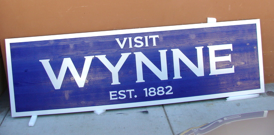 "F15032-""Visit Wynne"" City Enrance Carved Wooden Sign"