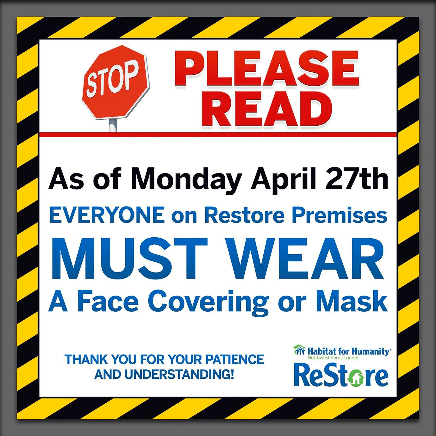 All Visitors to the ReStore Must Wear a Mask or Face Covering