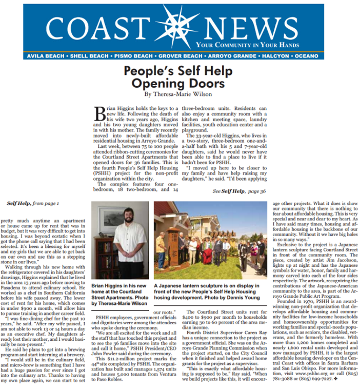 Peoples' Self Help Opening Doors - Coast News