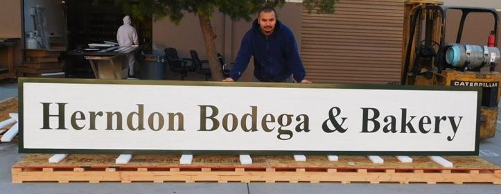 "Q25647 - Large Carved and Sandblasted Sign for ""Herndon Bodega & Bakery"" , with Raised Text and Border"