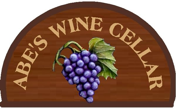 "FG604 - Carved 3-D  ""Barrel End"" Oak  Wall Plaque with Grape Cluster"