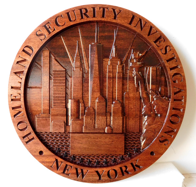 M3069 - Carved Mahogany Plaque for Homeland Security Investigations with Carved New York City Skyline (Gallery 30)