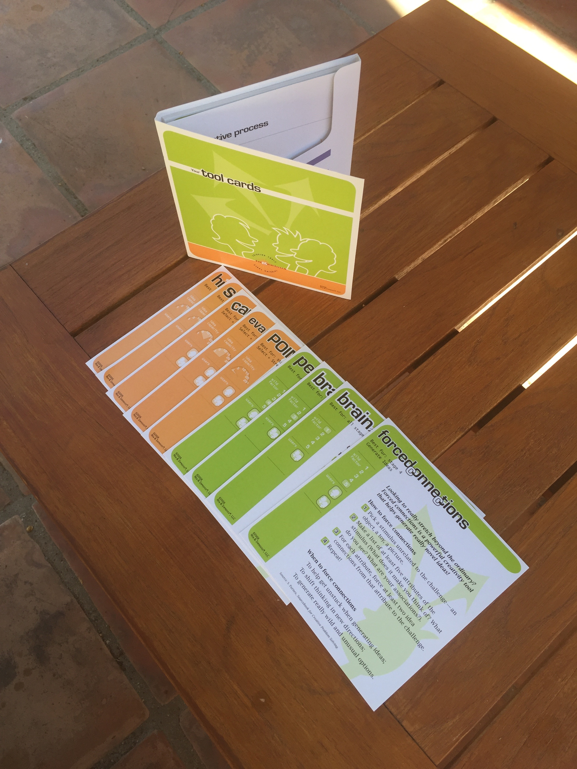 Innovation for Results Tool-Cards, by New and Improved, LLC, 14 Cards placed into a card cover with inside pocket
