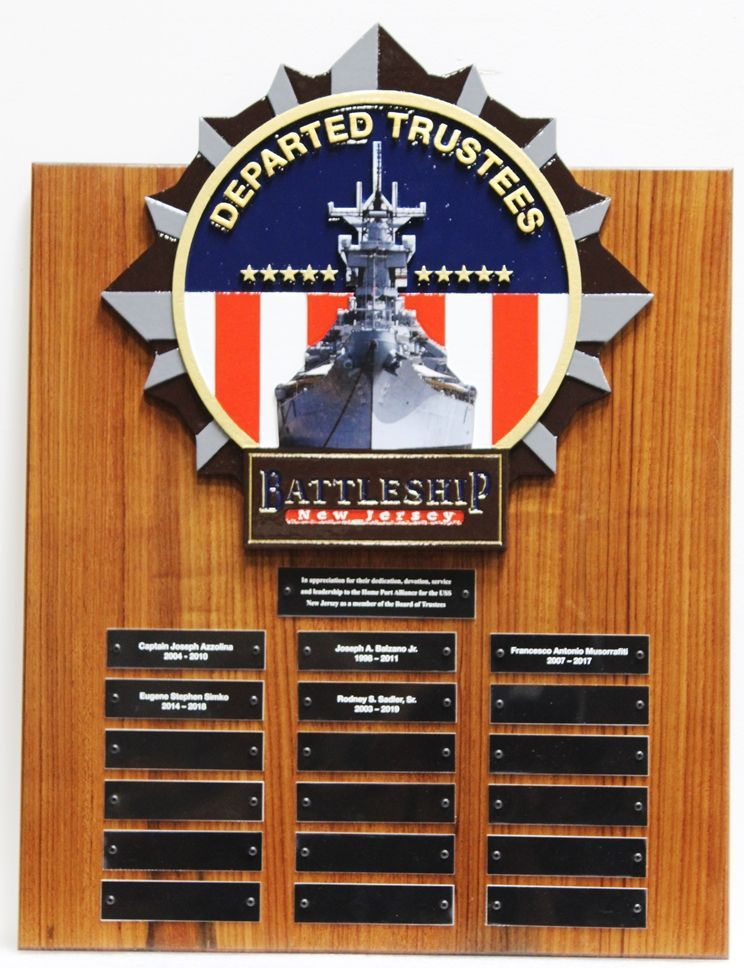 SB1010 - Recognition and Memorial  Plaque Honoring Departed Trustees of the Battleship New Jersey Museum,  Carved from California Redwood.
