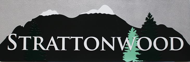 T29166 - Carved  Sign for Strattonwood Resort, with Snow-capped Mountains and  Fir Trees