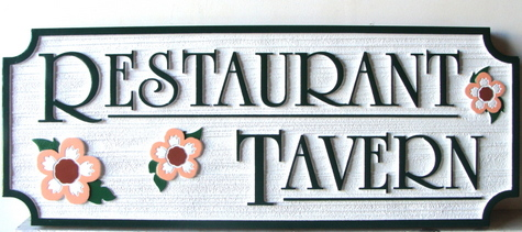 Q25731 - Carved HDU Restaurant and Tavern Sign with Flowers