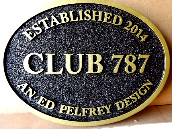 "Y27127 -  Carved and Sandblasted HDU Entrance Sign for  ""Club 787"""