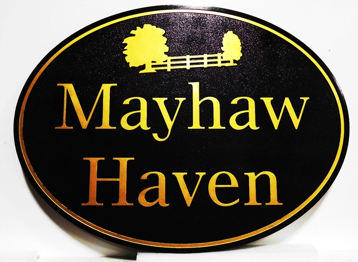 "I18305 - Carved HDU   Property Name Sign ""Mayhaw Haven"", 2.5-D raised Relioef, with Gold-Leaf Gilded Text and Artwork, Trees and a Fence"