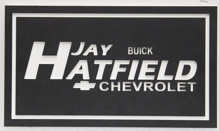 """S28190 - Carved Engtaved  HDU 2.5-D Sign for """"Jay Hatfield - Buick and Chevrolet"""""""