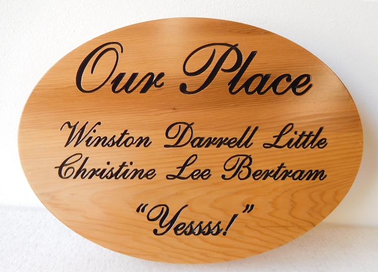 "N23063 - Engraved Cedar Plaque, ""Our Place"""