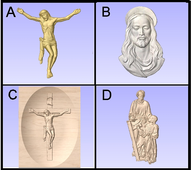 D13406 - Wood and HDU Carvings of Crucifixion, Head of Jesus, and Joseph with Boy Jesus
