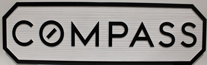 """S28136 - Carved and Sandblasted Wood Grain Sign  for the """"Compass"""" Company."""